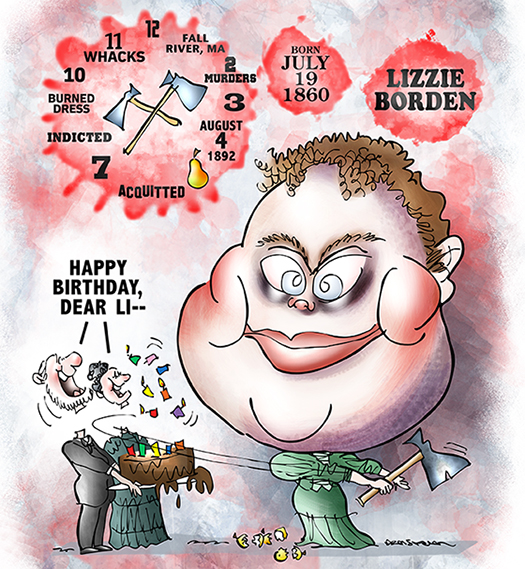 caricature of Lizzie Borden who was tried and acquitted for the ax murders of her mother and father in Fall River, Massachusetts