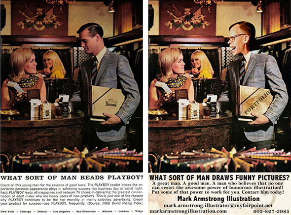 Before and After images of an old print ad for Playboy Magazine showing original ad and manipulated image substituting illustrator Mark Armstrong and his coffee-stained portfolio chatting up beautiful blonde