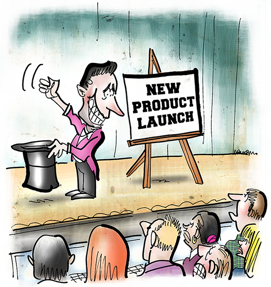 cartoon illustration for blog post about reporters attending hi-tech computer product new release press conference and frustration of finding no real news because product details already leaked to some media outlet
