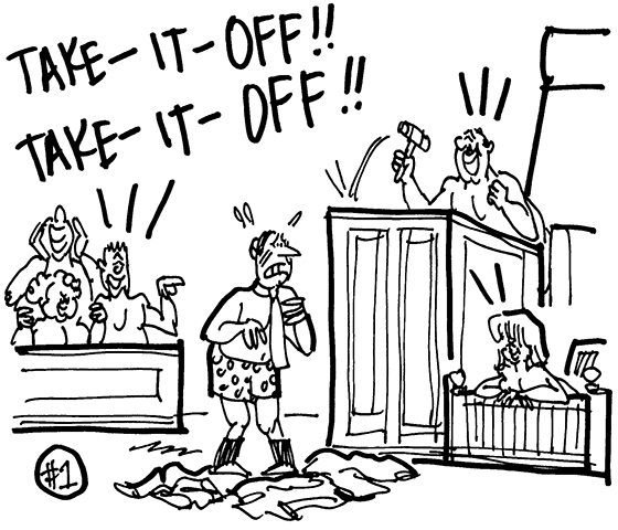 cartoon showing courtroom scene where judge, witness, and jury members are naked and calling for lawyer to take it off, he's reluctantly stripping off his clothes, lawsuit involving cosmetic firm and lingerie manufacturer disputing each other's right to use the word naked in their product line
