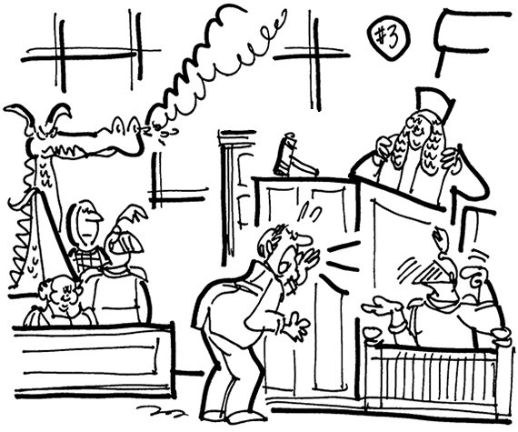 rough sketch for cartoon illustration for legal publication Inside Counsel Magazine for their Strange Suits feature case involving rival dinner theater restaurants with medieval knight theme shows, courtroom scene with lawyer yelling at knight in suit of armor, judge in long Brutish-style wig, jury composed of knights, fair maiden, and dragon billowing smoke