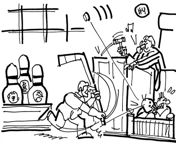 cartoon showing courtroom scene with lawyer as hockey player hitting puck with stick, puck ricocheting off bowling ball held by witness, judge as hockey referee blowing his whistle, jury members dressed as giant bowling pins, lawsuit involving stunt at hockey game that resulted in injury