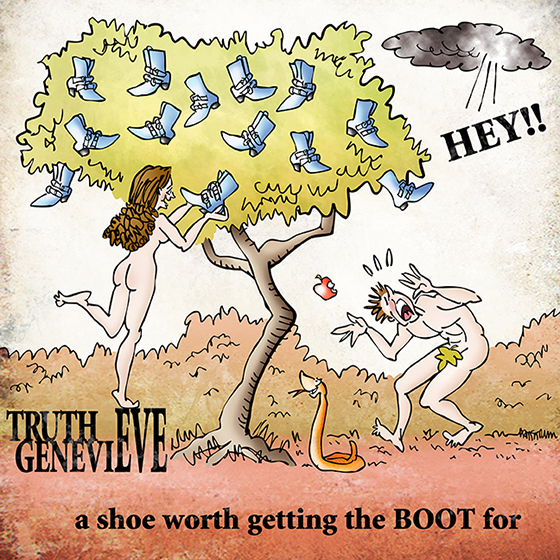 illustration for Fluevog Shoes poster advertisement contest for Truth Genevieve model shoe showing Adam and Eve in Garden of Eden with Eve picking forbidden shoe off tree with snake and Adam wearing fig leaf and God's voice saying Hey from dark cloud, and ad copy say it is a shoe worth getting the boot for