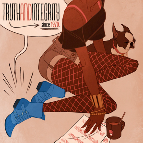 winning design for Fluevog Shoes poster advertisement contest for shoe called Truth Genevieve showing young woman wearing the shoe and she's also wearing shorts and tights and has a cute little dog and a cup of tea