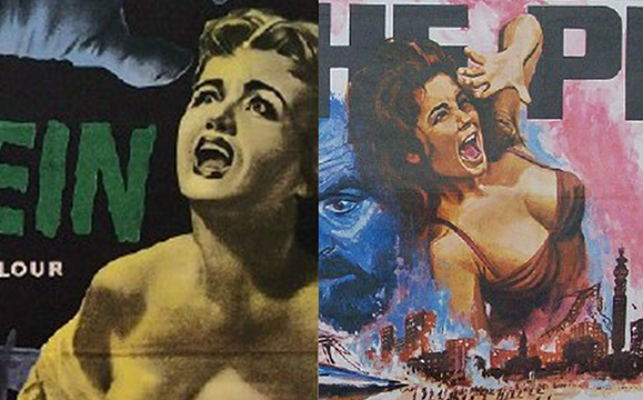 images from two old horror movie posters showing melodramatic illustrations of scantily-clad women screaming in terror with gaudy retro colors and collage of scenes from movie