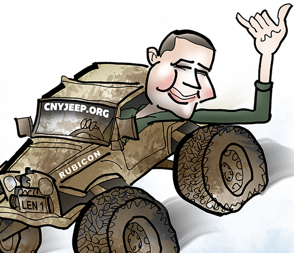 detail image of caricature of man who is airborne in his mud-splattered jeep soaring over rocks and leaning out window giving the hang loose hand sign