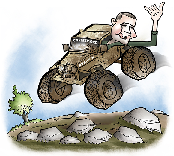 caricature of man who is airborne in his mud-splattered jeep soaring over rocks and leaning out window giving the hang loose hand sign