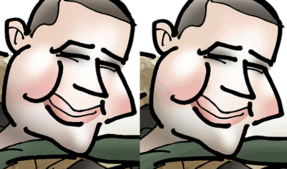 compare showing difference between caricature done in Photoshop (bitmap or raster image) and same image after it was traced and converted to a vector image in Adobe Illustrator