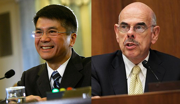 photos of former united states commerce secretary Gary Locke, now united states ambassador to China, and congressman Henry Waxman, Democrat, California, whose district includes Hollywood and Beverly Hills