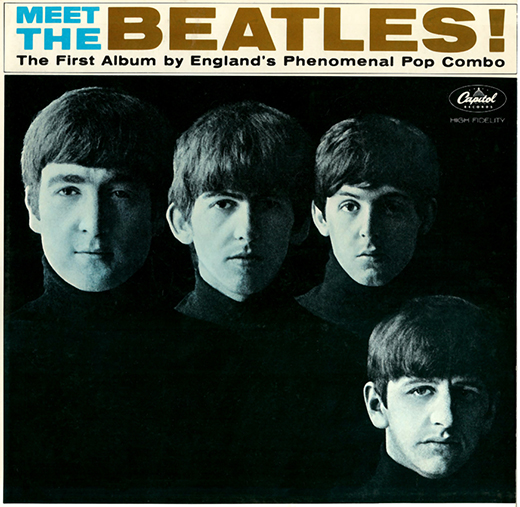 cover of The Beatles' first American LP showing John Lennon, George Harrison, Paul McCartney, and Ringo Starr, all wearing black turtlenecks with only left side of their faces lit, right side in shadow