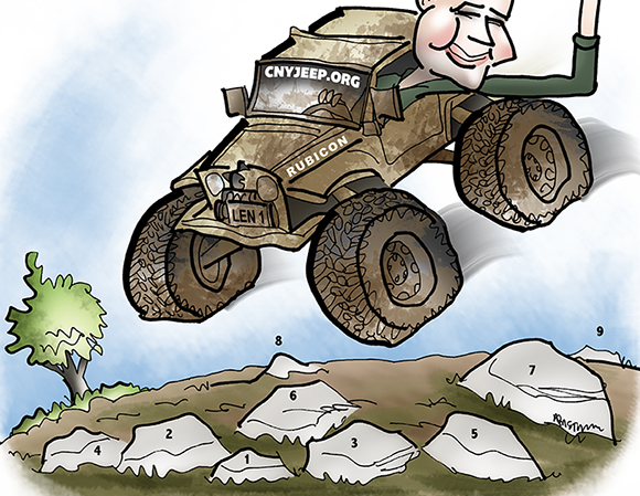 caricature of man who is airborne in his mud-splattered jeep soaring over rocks and leaning out window giving the hang loose hand sign and rocks are numbered to show how artist identified them so he could add shading to them one at a time