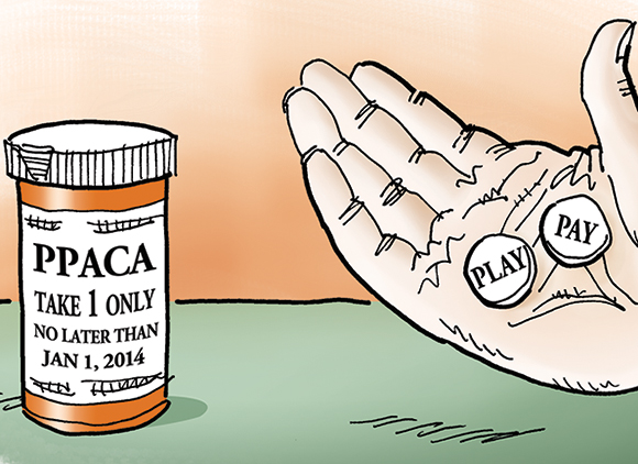 detail image of illustration about new United States healthcare act, PPACA, Patient Protection And Affordable Care Act, aka Obamacare, showing hand holding two pills labeled Play and Pay, and pill container indicating that companies must choose one or the other when it comes to providing employee health insurance