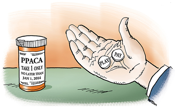 illustration about new United States healthcare act, PPACA, Patient Protection And Affordable Care Act, aka Obamacare, showing hand holding two pills labeled Play and Pay, and pill container indicating that companies must choose one or the other when it comes to providing employee health insurance