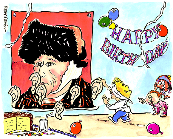 cartoon done with markers and watercolor after being cleaned up and modified in Adobe Photoshop to brighten colors and smooth away grain, cartoon shows kids at birthday party playing pin the ear on painter vincent van gogh instead of traditional pin the tail on the donkey party game