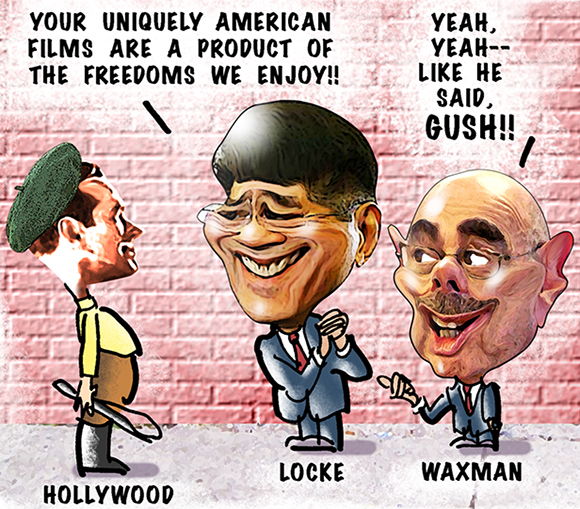 detail image of editorial cartoon making fun of former commerce secretary Gary Locke and Representative Henry Waxman, Democrat, California, for praising Hollywood films for reflecting American freedoms and ignoring fact that so many of them are junk and filled with violence and a bad influence