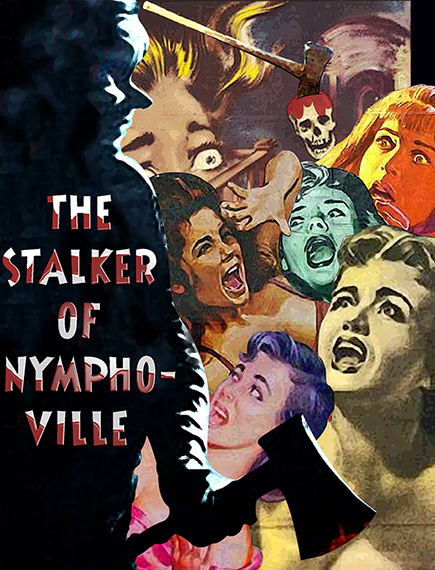 photo illustration of movie poster for fictitious slasher horror movie constructed in Photoshop by combining bits and pieces of actual old horror movie poster showing killer with bloody ax and screaming terrified women