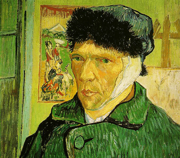 Vincent van Gogh self-portrait showing him with his bandaged ear after he had cut part of it off