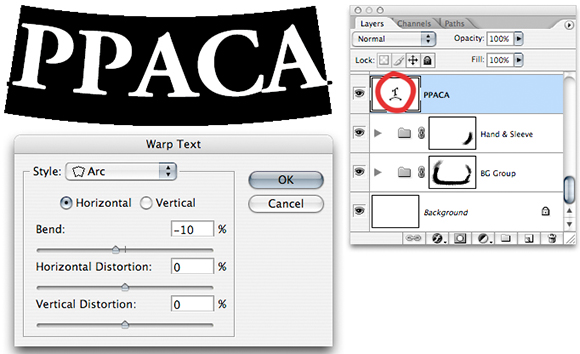 image showing Photoshop Text Warp Window and setting options and the resulting effect on text which has not been rasterized