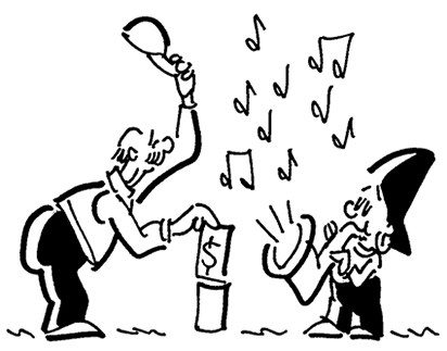 single cartoon panel showing Busker the street musician playing his saxophone and man is showing his appreciation by putting money into Busker's tin can