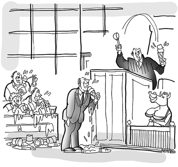 cartoon illustration for strange lawsuit magazine humor feature involving porn movie maker who based his porno film titles on Ben & Jerry's ice cream flavor names, busty cow porn movie starlet on witness stand while judge, lawyer, and jury eat ice cream
