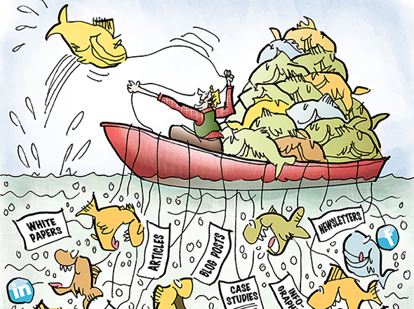 detail image of illustration for Partner Channel about sales and marketing and using sales and online media tools to attract customers, guy fishing in boat using sales tools as bait to attract and catch fish