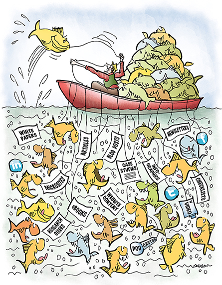 illustration for Partner Channel about sales and marketing and using sales and online media tools to attract customers, guy fishing in boat using sales tools as bait to attract and catch fish