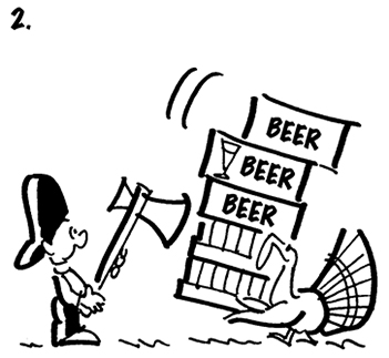 second panel of Thanksgiving comic strip about Busker the street musician and he's hunting with ax and meets turkey carrying cases of beer in opposite direction