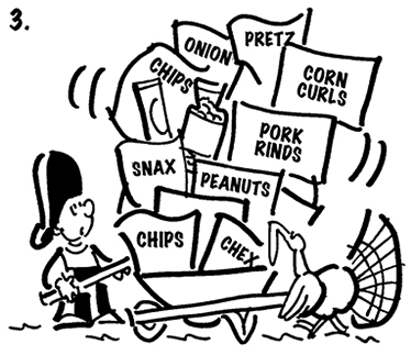 third cartoon panel of Thanksgiving comic strip about Busker the street musician and he's carrying ax and is looking with amazement as turkey goes by with wheelbarrow full of potato chips, chex mix, peanuts, pretzels, pork rinds and other greasy snacks