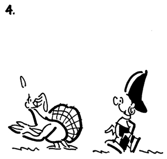 fourth cartoon panel of Thanksgiving comic strip about Busker the street musician and turkey is motioning him in particular direction, indicating right this way, sir, after you
