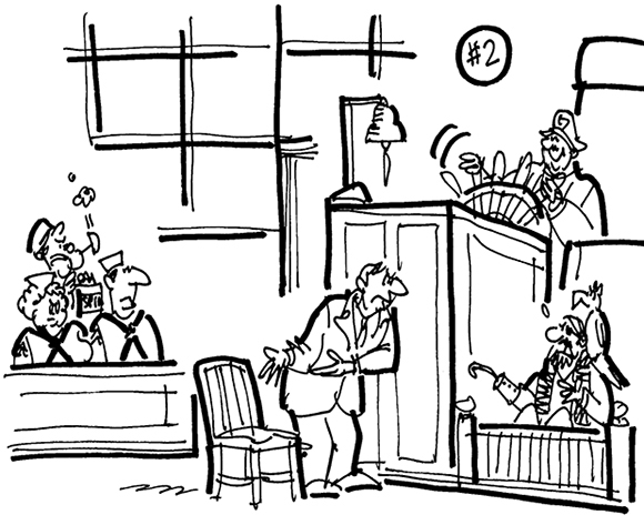 cartoon illustration for lawsuit involving trademark violation by company which manufactured Navy Chair virtually identical to another company's design, lawyer showing chair to pirate in witness box, judge at helm of ship's steering wheel, jurors dressed as sailors including Popeye