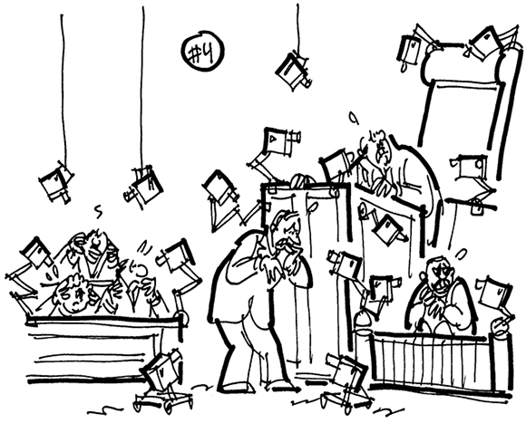 rough sketch for cartoon illustration for legal magazine humor feature about strange lawsuits, suit involved rap singer Flo Rida who refused to pay for home security system, cartoon shows courtroom filled with security cameras watching everyone's movements