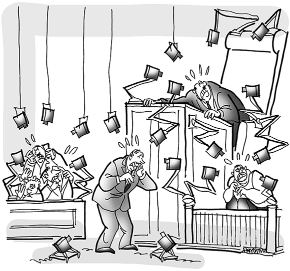 cartoon illustration for legal magazine humor feature about strange lawsuits, suit involved rap singer Flo Rida who refused to pay for home security system, cartoon shows courtroom filled with security cameras watching everyone's movements
