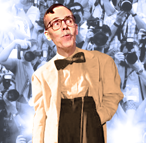 detail image of illustrator Mark Armstrong wearing a zoot suit with big bowtie and long watch chain with paparazzi snapping his picture with flash cameras photo-manipulation put together in Photoshop using adjustment layers and Median noise filter