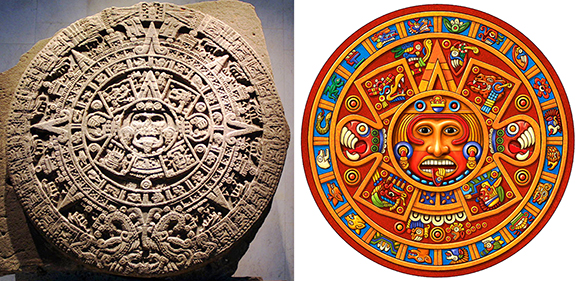 Aztec calendar stone also known as aztec calendar and sometimes portrayed as mayan calendar with sun god in middle with tongue sticking out, and same image in color as folk art using mayan and aztec glyphs