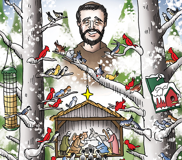 detail image for Christmas cover illustration for Inland Register Spokane's Catholic diocesan newspaper showing snowy wooded winter outdoor setting, birds in trees with feeders looking at tiny creche Nativity scene with Joseph, Mary, Baby Jesus, shepherds, with Saint Francis of Assisi smiling down on everyone
