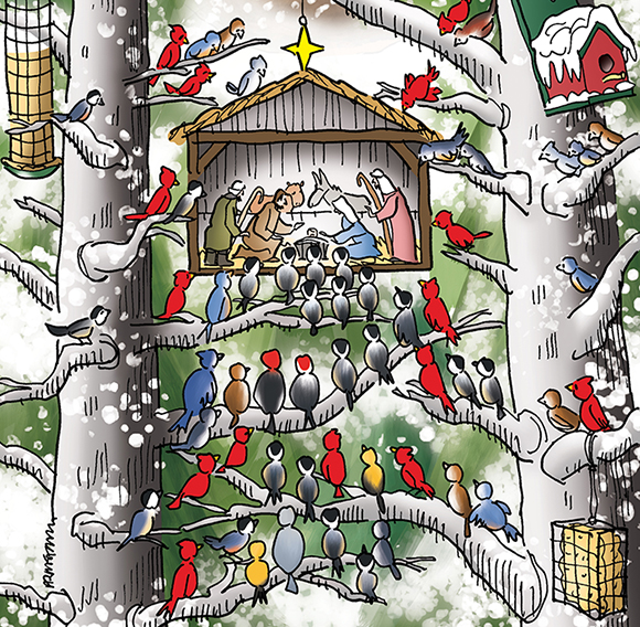 detail image of Christmas cover illustration for Inland Register Spokane's Catholic diocesan newspaper showing snowy wooded winter outdoor setting, birds in trees with feeders looking at tiny creche Nativity scene with Joseph, Mary, Baby Jesus, shepherds, with Saint Francis of Assisi smiling down on everyone