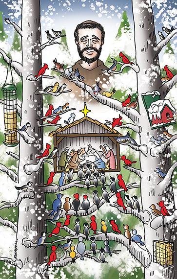 Christmas cover illustration for Inland Register Spokane's Catholic diocesan newspaper showing snowy wooded winter outdoor setting, birds in trees with feeders looking at tiny creche Nativity scene with Joseph, Mary, Baby Jesus, shepherds, with Saint Francis of Assisi smiling down on everyone