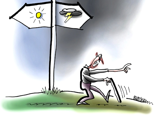 detail image of illustration of angry blind man with cane groping and walking past signpost indicating two basic paths either into sunlight with life, love, song, optimism, positive attitude, or into darkness with death, negativity, hate, pessimism, and sour disposition, you've got to take off blinders and choose wisely to support your mental health and affirm others