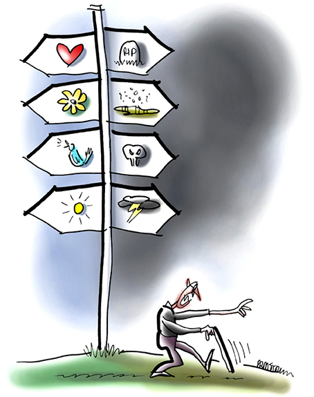 illustration of angry blind man with cane groping and walking past signpost indicating two basic paths either into sunlight with life, love, song, optimism, positive attitude, or into darkness with death, negativity, hate, pessimism, and sour disposition, you've got to take off blinders and choose wisely to support your mental health and affirm others
