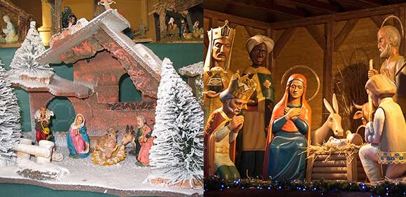 images of Christmas creches which are representations of the Bethlehem manger and the Nativity and the birth of Jesus Son of God and include figures of Mary, Joseph, Baby Jesus, shepherds, sheep, animals, and the Wise Men, Magi, Three Kings