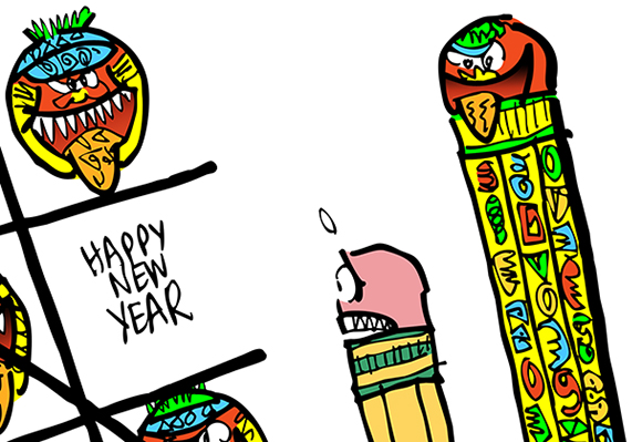 detail image of cartoon satirizing the mayan calendar which supposedly predicts that the world will end on December 21, 2012 mayan pencil and regular pencil playing tic-tac-toe game using mayan faces with tongues stuck out and the phrase Happy New Year Mayans win game implying there will not be a new year, no 2013