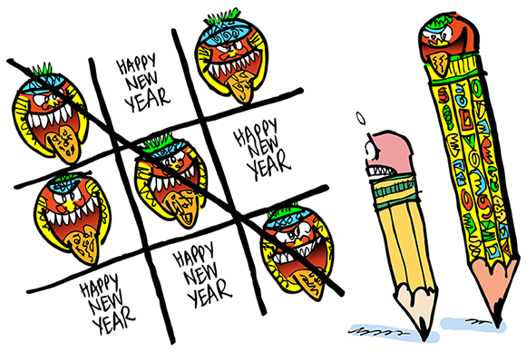 cartoon satirizing the mayan calendar which supposedly predicts that the world will end on December 21, 2012 mayan pencil and regular pencil playing tic-tac-toe game using mayan faces with tongues stuck out and the phrase Happy New Year Mayans win game implying there will not be a new year, no 2013