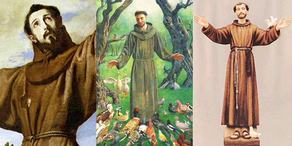 images of famous catholic friar and saint Saint Francis of Assisi who supposedly preached to birds and animals and is associated with nature and the environment and all God's creation, his statue is often found in people's gardens
