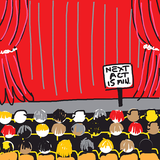 Draw Something app image for word AUDIENCE showing crowd sitting in theater looking at stage curtain waiting for next act to begin