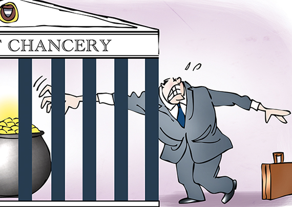 detail image for illustration showing two lawyers reaching through bars of Delaware Chancery Court which looks like a cage, trying to reach pot of gold, not easy because exclusive forum bylaws require merger lawsuit to be tried in specific court which is less likely to automatically award damages to plaintiffs