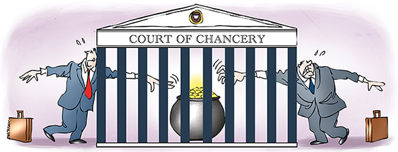 illustration showing two lawyers reaching through bars of Delaware Chancery Court which looks like a cage, trying to reach pot of gold, not easy because exclusive forum bylaws require merger lawsuit to be tried in specific court which is less likely to automatically award damages to plaintiffs