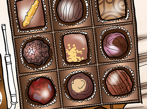 detail image of illustration for St. Croix Chocolate Company showing truck that looks like a box of chocolates being driven on open road en route to Chicago Fine Chocolate Trade Show