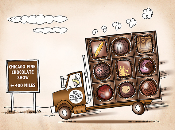 illustration for St. Croix Chocolate Company showing truck that looks like a box of chocolates being driven on open road en route to Chicago Fine Chocolate Trade Show