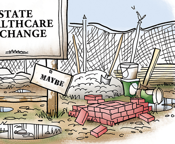 detail image for illustration about Obamacare new national healthcare law and how states are supposed to provide state healthcare exchanges for those who can't buy health insurance through employer showing abandoned construction site with wheelbarrow, bricks, lumber, crushed stone, shovels, building materials, sagging fence, standing water