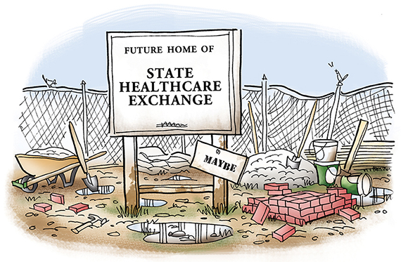 illustration about Obamacare new national healthcare law and how states are supposed to provide state healthcare exchanges for those who can't buy health insurance through employer showing abandoned construction site with wheelbarrow, bricks, lumber, crushed stone, shovels, building materials, sagging fence, standing water